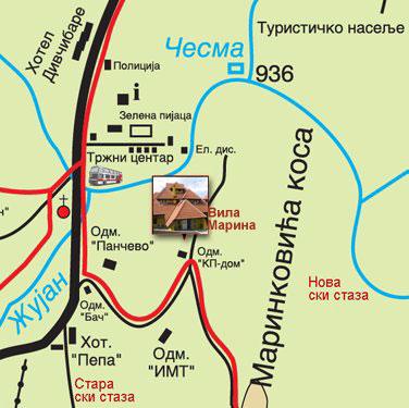 mionica mapa Vila Marina Divcibare | Location Divcibare mionica mapa